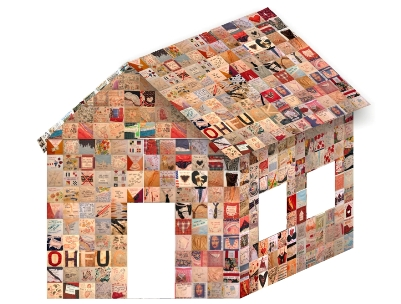 "Pam Hall's ""History House"" made up of 1320 art squares."