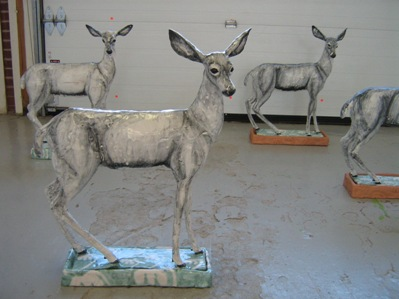 Heather Keeling's ceramic deer inspired by Tang dynasty horses.